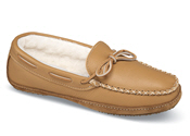 Tan Wool Pile Moccasin Slipper
