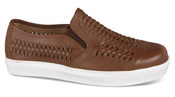 Brown Woven Leather Slip-on