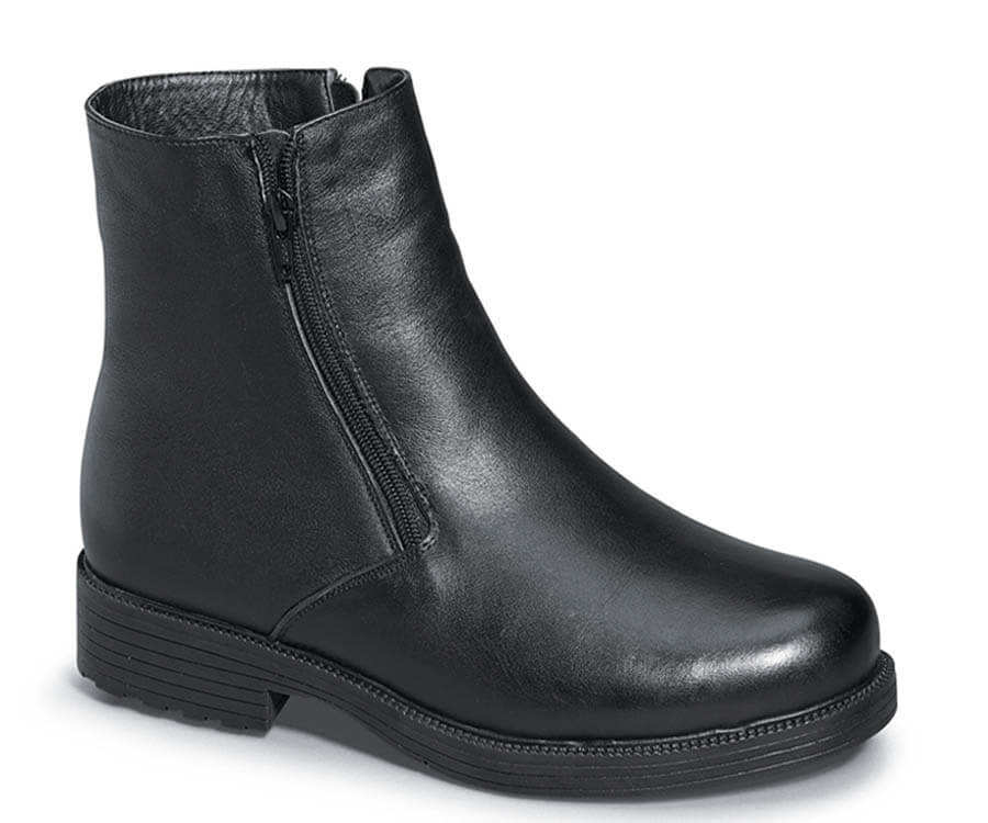 Black Troy Double Zipper Boot Hitchcock Wide Shoes
