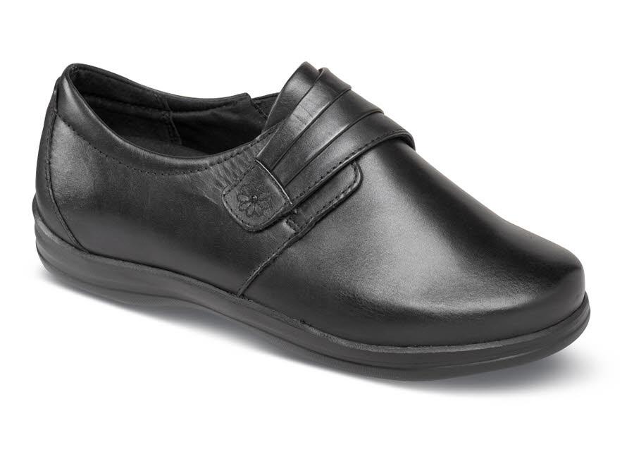 Linda Black Monk Strap Hitchcock Wide Shoes