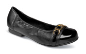 Piccadilly Black Patent Toe Flat