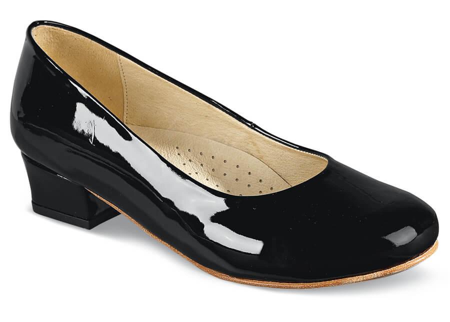 Anna Black Patent Low Heel | Hitchcock
