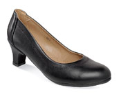 Kristin Black Leather Pump