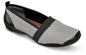 Carol Black/White Striped Flat