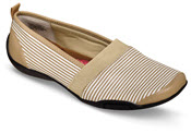 Carol Taupe/White Canvas Flat