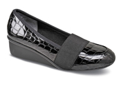 Erica Black Croc Patent Wedge