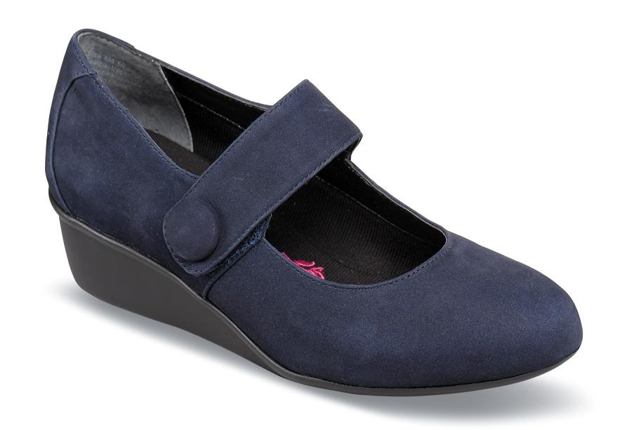 70b5073a4b Elsa Navy Nubuck Wedge   Hitchcock Wide Shoes