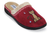 Tabby Red Plush Scuff Slipper