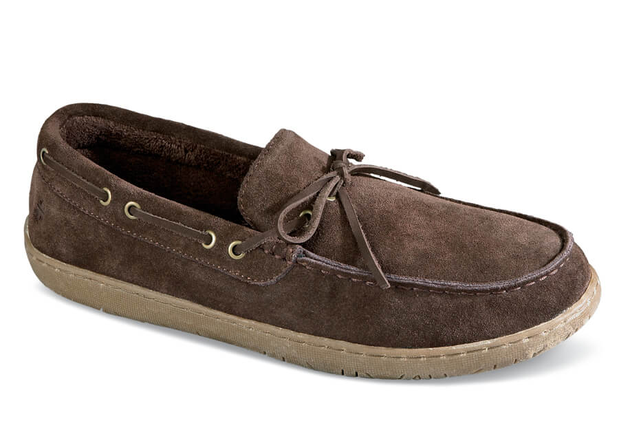 Brown Suede Lined Slipper