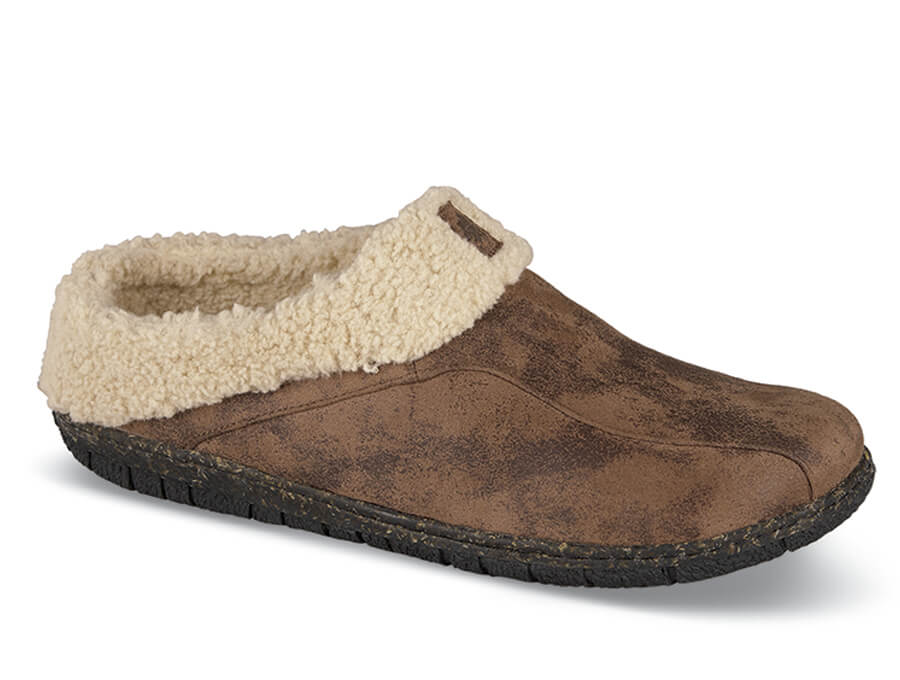 Brown Lined Slide Slipper