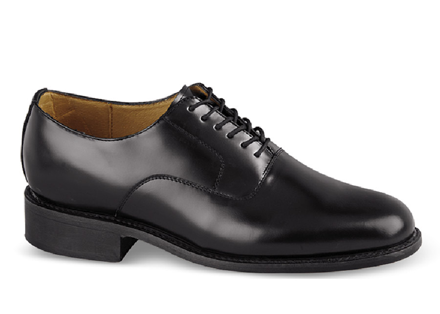 Black Plain Toe Bal Oxford