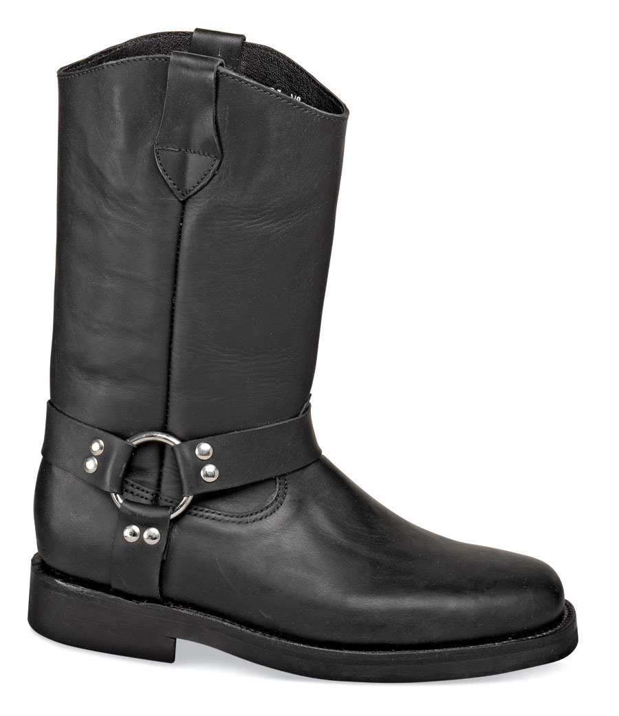 Black Wellington Harness Boot Hitchcock Wide Shoes