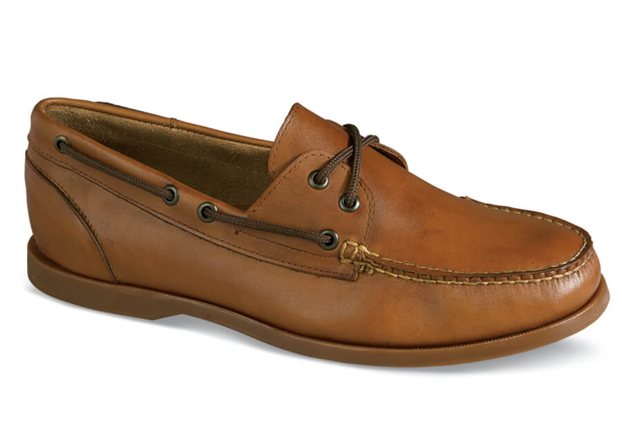 Tan Two-Eyelet Boat Shoe
