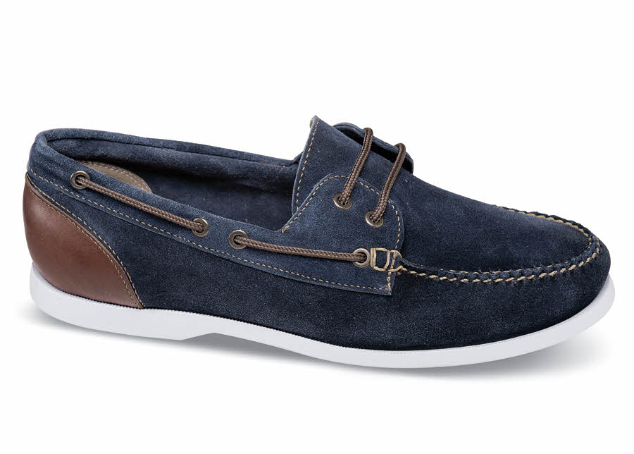 Navy Blue Suede Boat Moccasin
