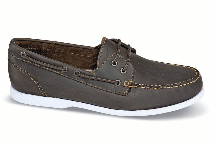 Brown White Soled Boat Shoe