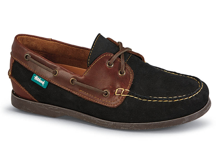Black Nubuck/brown Boat Shoe