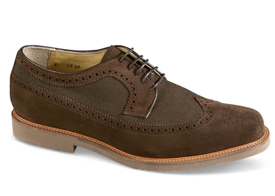 Brown Suede/Canvas Wing-tip