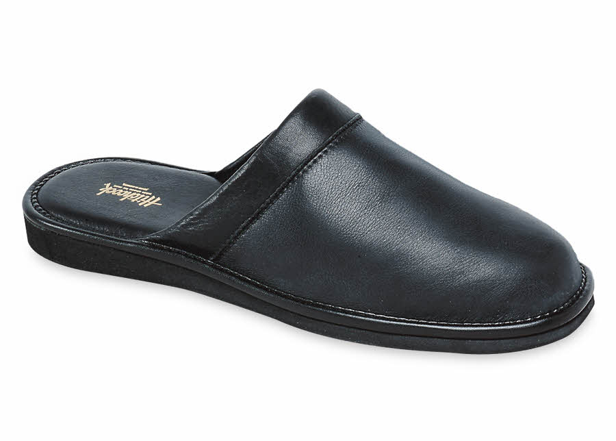 Black Deerskin Scuff Slipper