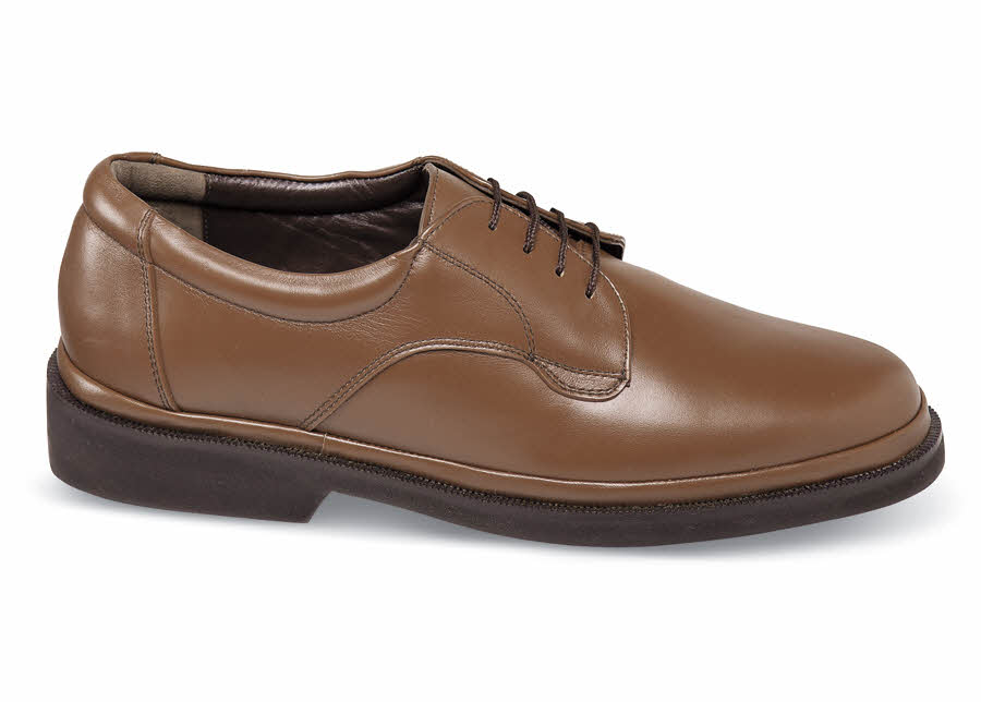 Brown Plain-Toe Flex Oxford