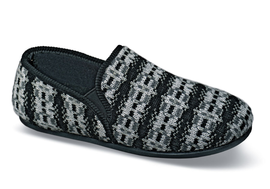 Grey/black Knit Slipper