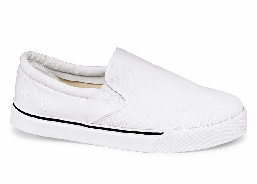 White Canvas Casual Slip On Hitchcock Wide Shoes