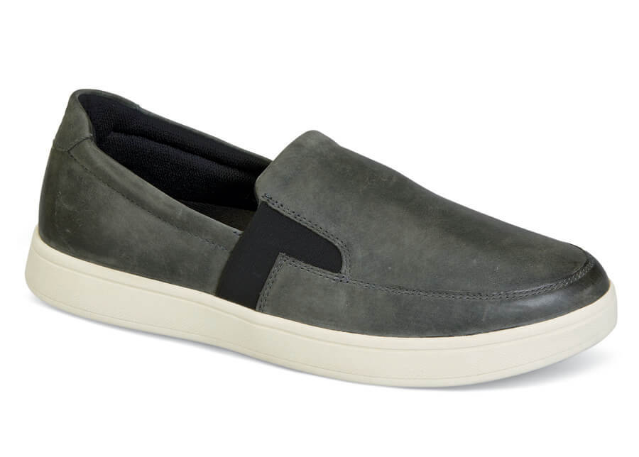 Grey Leather Jump Slip-on