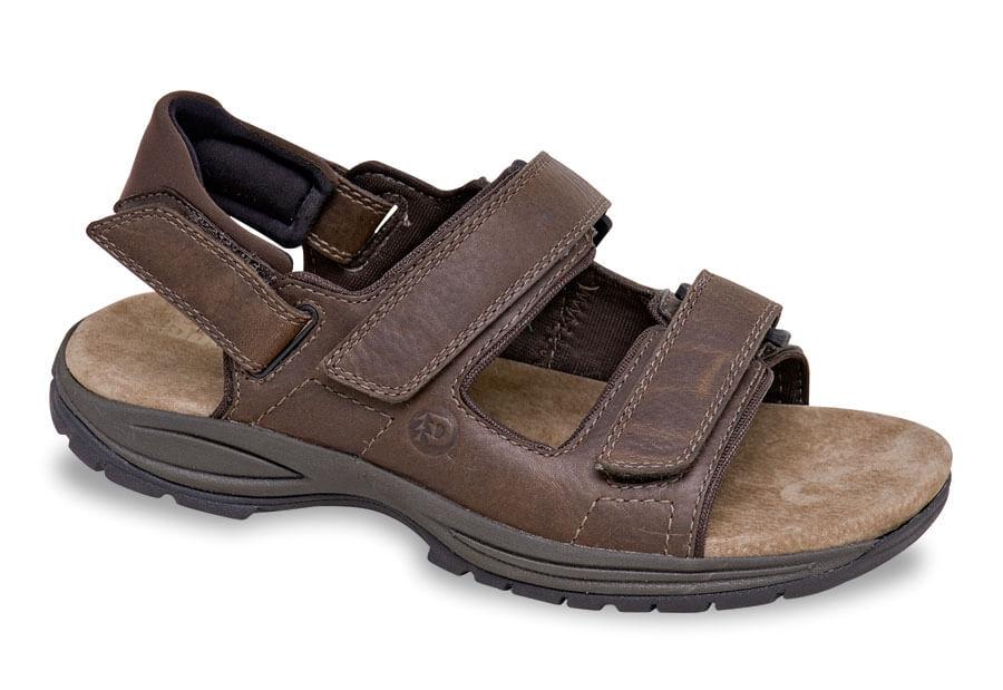 Brown Triple Strap Sandal Hitchcock Wide Shoes