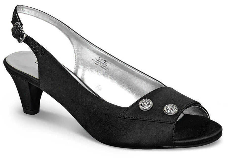 Party Black Open Toe Sling Back