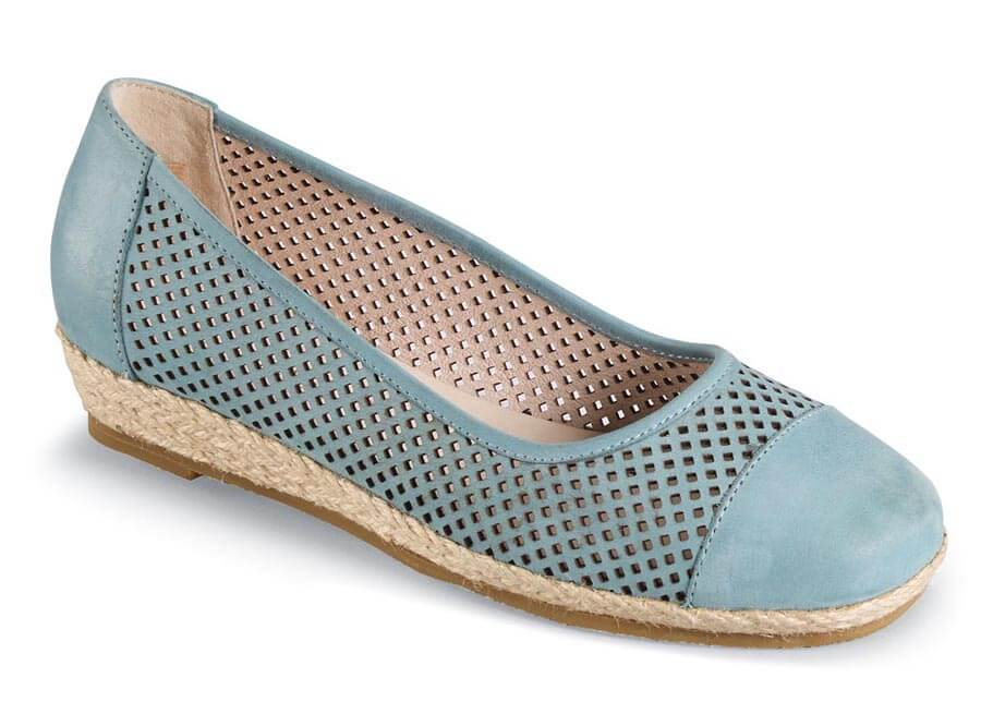Nadine Sky Blue Perforated Flat
