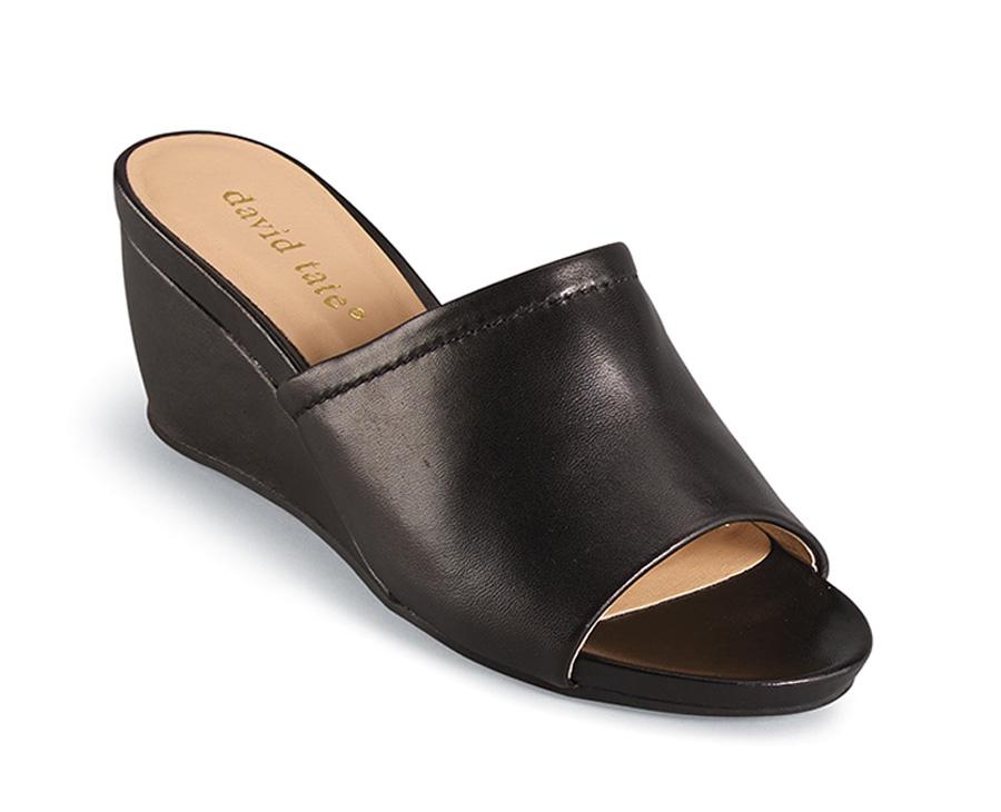 Mint Black Wedge Slide Sandal Hitchcock Wide Shoes
