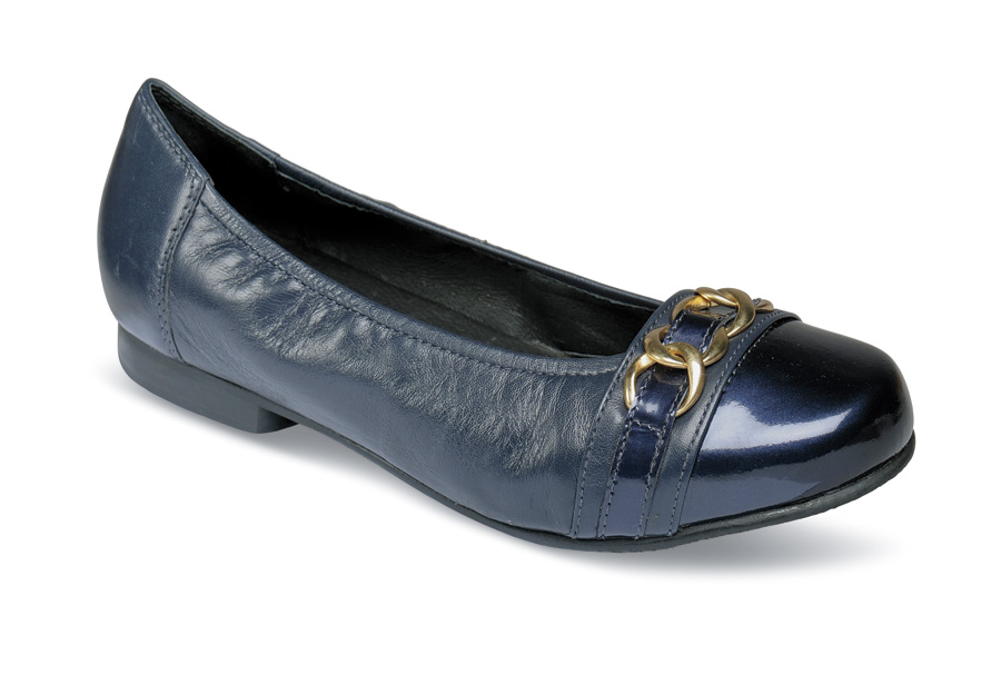Piccadilly Navy Patent Toe Flat