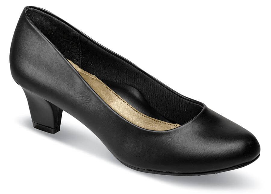 Gail Black Leather Pump