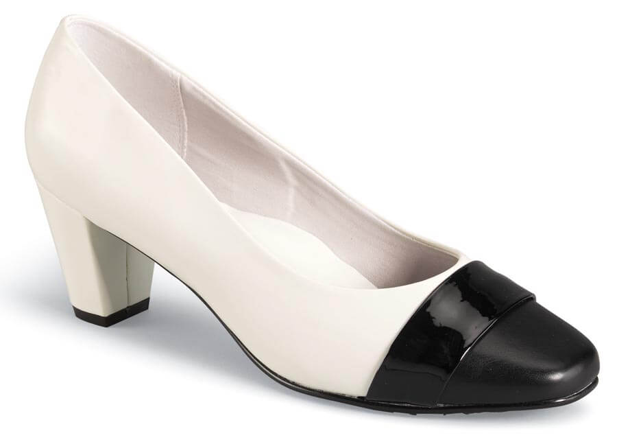 Mabry White Patent/Black Pump