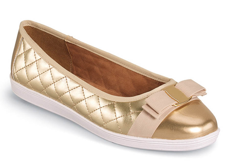 Faeth Platinum Quilted Ballet Flat
