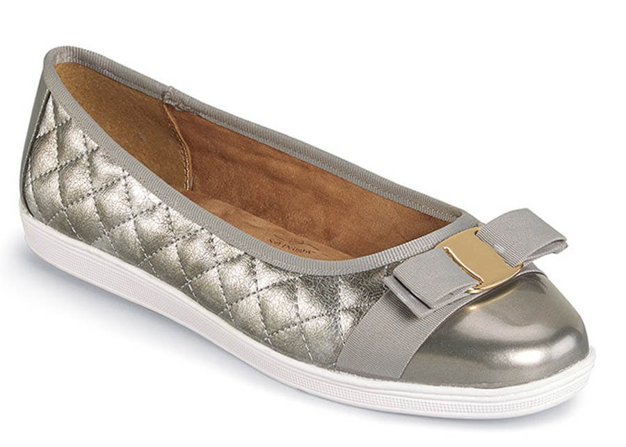 Faeth Pewter Quilted Ballet Flat
