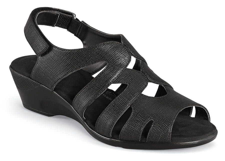 Patsie Black Wedge Sandal