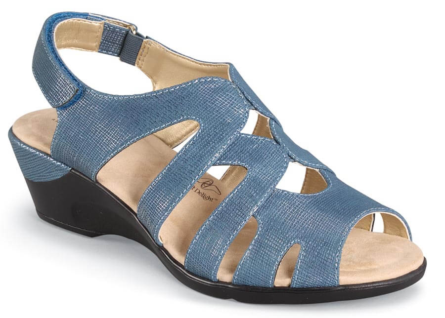 Patsie Blue Wedge Sandal Hitchcock Wide Shoes
