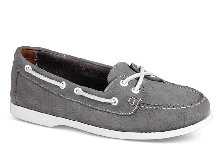 Carly Grey Leather Boat Moc