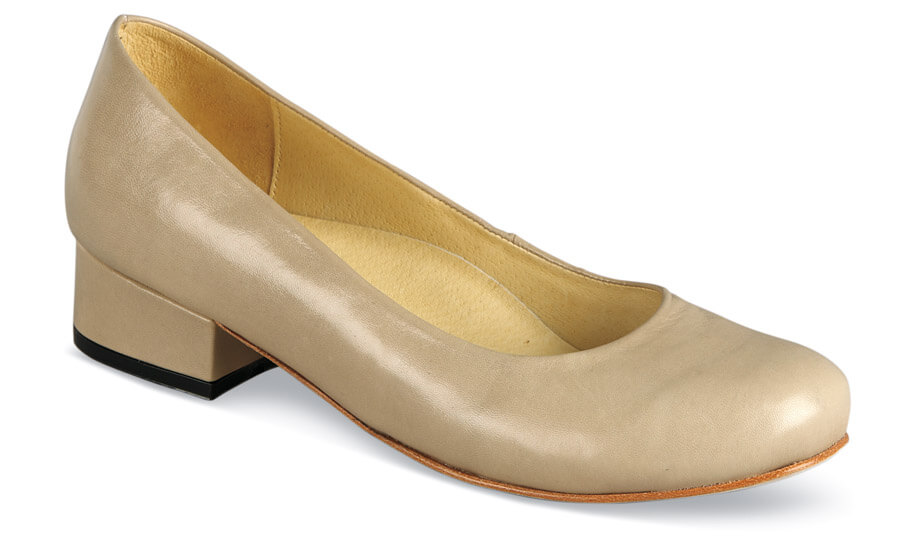 Anna Beige Leather Low Heel