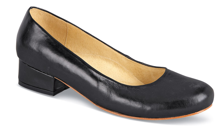 Anna Black Leather Low Heel
