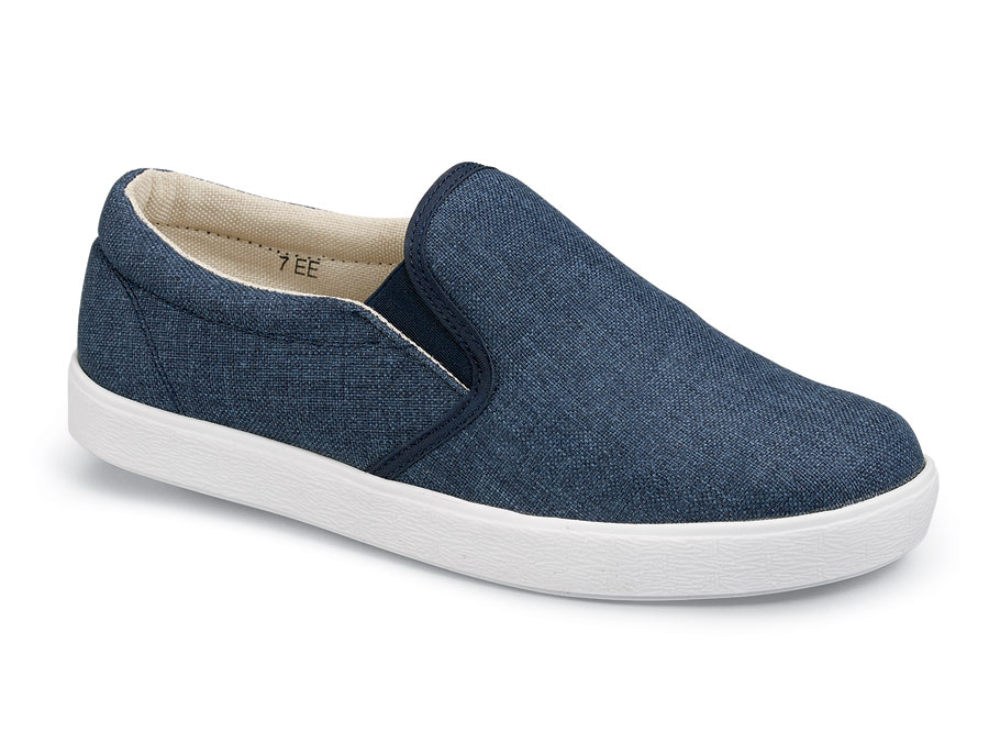 Anne Navy Canvas Slip On