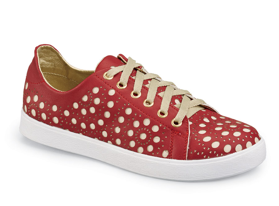 Jackie Red Leather Sneaker