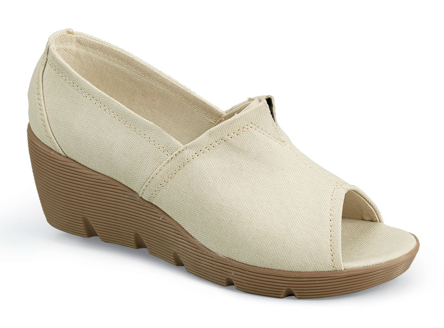 Sally Beige Canvas Wedge