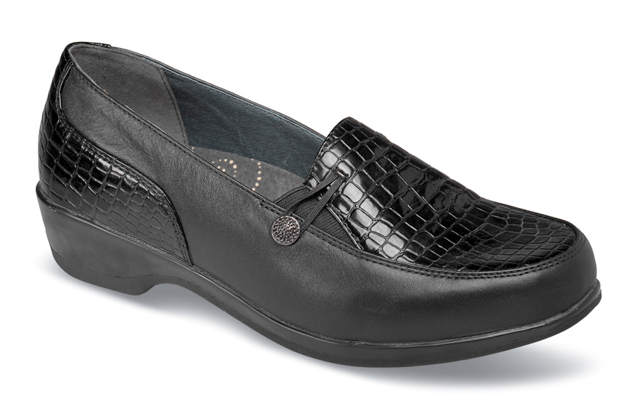 Briana Black Croco Slip-on