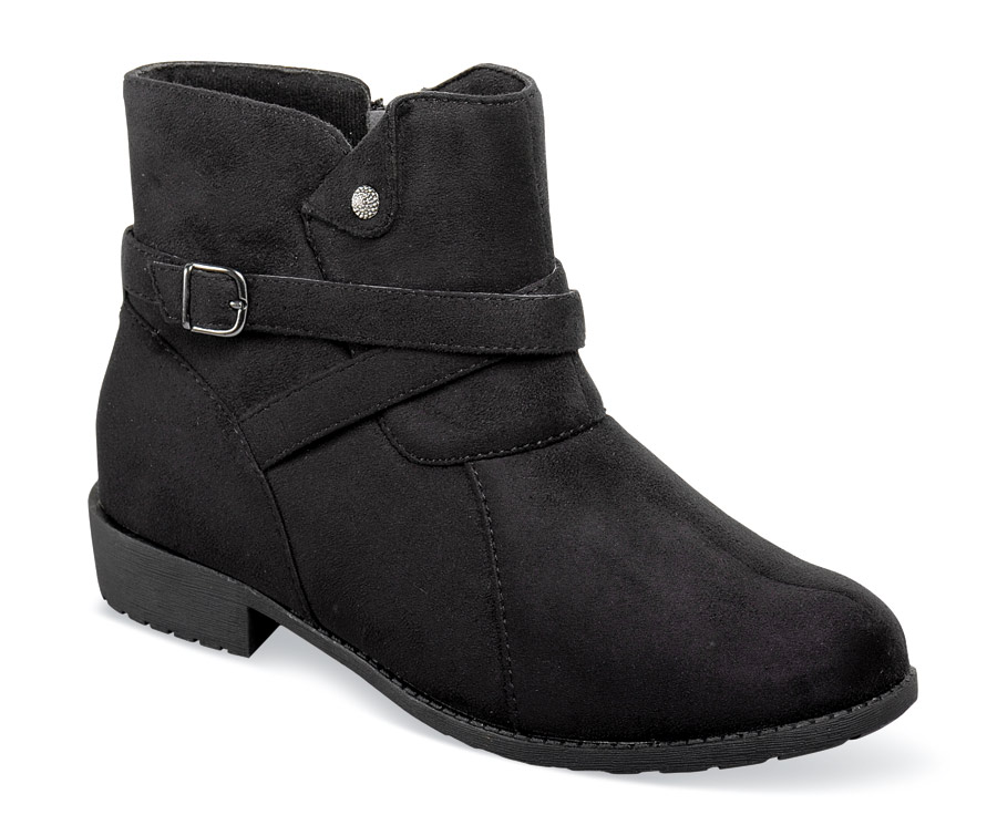 Shelby Black Velour Strap Bootie