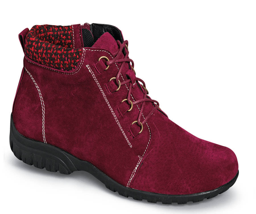 Delaney Dark Red Suede Bootie