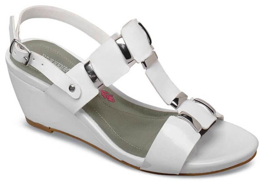 Willow White Patent Wedge