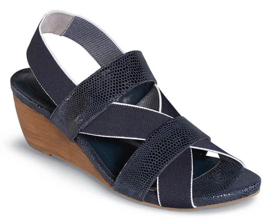 Wynona Navy Wedge Sandal