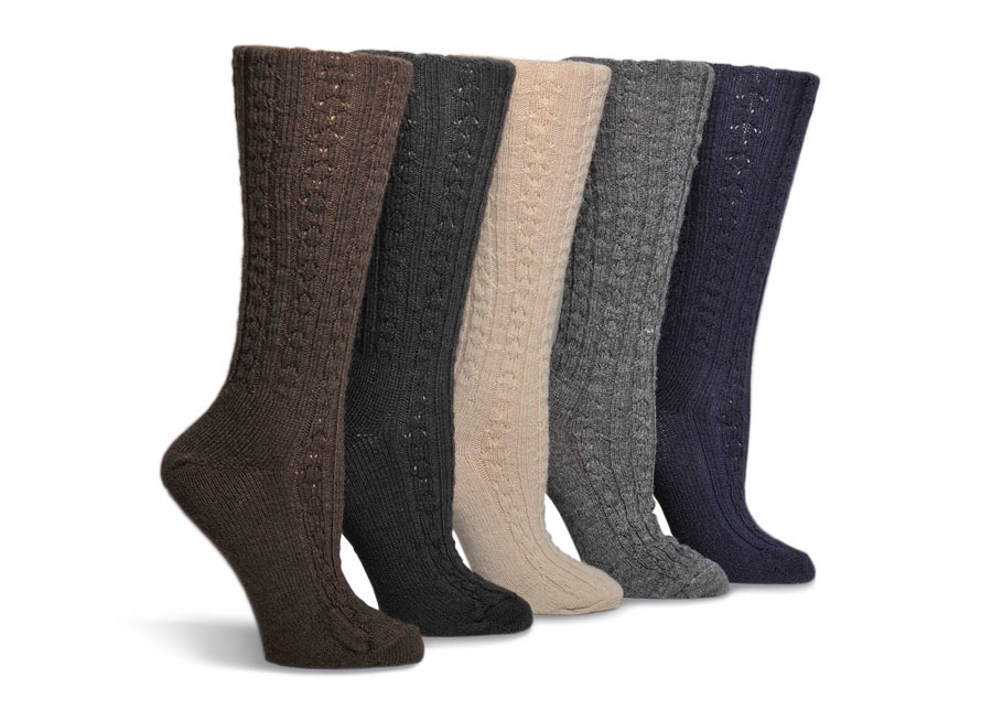 Cable Knee High Wool Socks